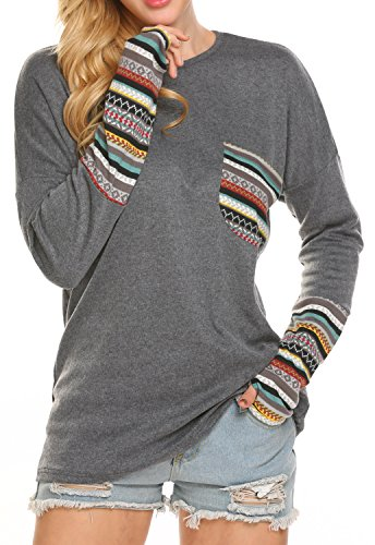 POGTMM Women's Long Sleeve O-Neck Patchwork Casual Loose T-Shirts Blouse Tops with Thumb Holes (M, ZZ New Gary) (Apparel)