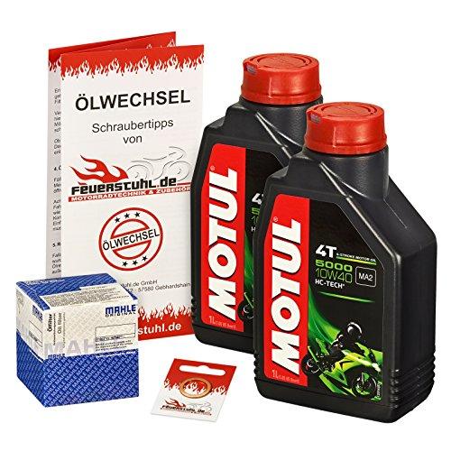 Motul 10W-40 Öl + Mahle Ölfilter für Yamaha Raptor 700 /SE (YFM 700 R), 06-15 - Ölwechselset inkl. Motoröl, Filter, Dichtring
