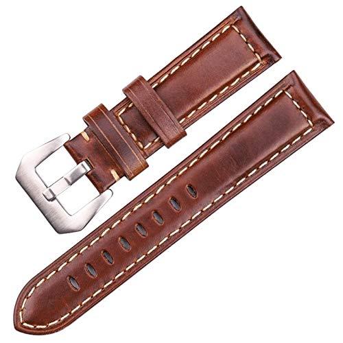 MOLUO Watchbadns 20mm 22mm 24mm Marrón Oscuro Woemn Reloj de los Hombres de la Correa de Reloj de los Accesorios de la Venda (Band Color : Dark Brown, Band Width : 24mm)