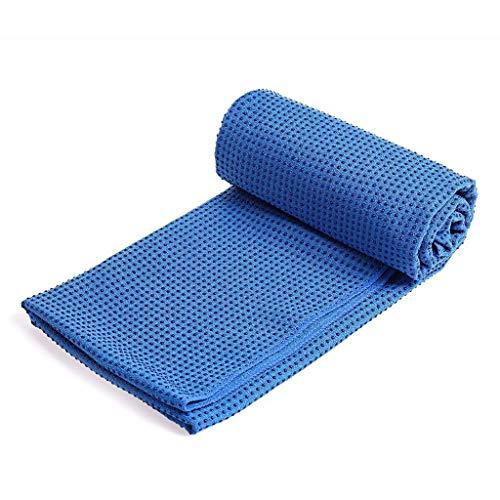 Andouy Yoga Handtuch Fitnesstuch - Weich, Atmungsaktiv, rutschfest - Antirutsch Yogatuch mit Hoher Bodenhaftung, Tragbares Yogahandtuch für Yoga 183X63X3CM(183X63X3CM.Blau)