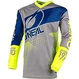 O'Neal | Camiseta de Manga Larga de Mountainbike | MTB DH FR | Material Transpirable, protección Acolchada para los Codos | Element Youth Jersey Factor | Niños | Gris, Azul y Amarillo neón | Talla XL
