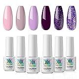 RSTYLE Gel Nagellack Set, 6 Farben 7ML Rosa Violett UV Nagellack Gelnägel Set mit Geschenkbox Soak Off Nail Art UV Gel Nagel-Design DIY at Home