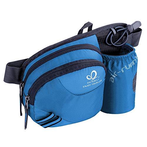 WATERFLY Taille Tasche mit Flaschenhalter Damen und Herren, Atmungsaktiv Hüfttasche mit Reflektorstreifen für Laufen Radfahren Camping Klettern Reisen