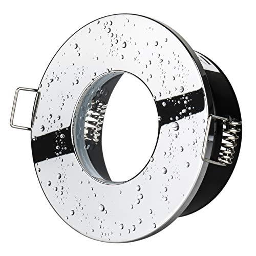 Bad Einbaustrahler Aqua 2.0 IP65 Chrom 230Volt GU10 Fassung Einbauleuchte Strahlwassergeschützt JungesLicht Badstrahler Badbeleuchtung Vordachbeleuchtung