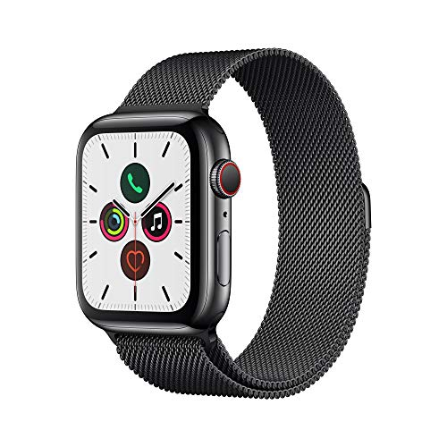 Apple Watch Series 5 (GPS + Cellular, 44 mm) Cassa in Acciaio Inossidabile Nero Siderale e Loop in Maglia Milanese