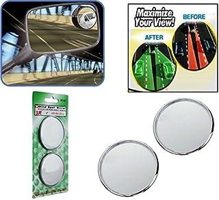 ManeKo 3R Blind Spot Mirror Round Shape Convex Side Rear View Mirror Black Corner - Universal for Bikes- Set of 2