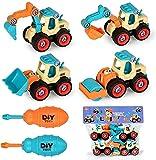 Vehículo de Construcción Juguete Excavadora Montar y Desmontar Juguetes con Destornillador Coches de Friccion Camión de Juguete Cumpleaño Regalos para Niños Niñas (Azul)