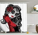 XZLWW Cortina De Ducha Tela De Poliéster,Sexy Calavera de azúcar con máscara Floral de Estilo Mexicano Malvado gótico Dead Art baño Cortina de baño con Gancho Set 150X180cm