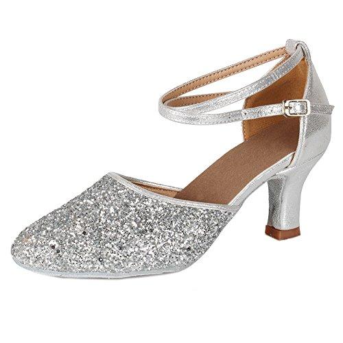 AMAZORS Mujer Zapatos de salón de Baile Latin, Dedos Cerrados,MF1802-5-7,Plata Color,EU 36