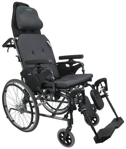Karman MVP502-20 Ergonomic V-Seat Reclining Wheelchair, Diamond Black, 22 Inches Rear Wheels and 20 Inches Seat Width