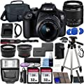 Canon EOS 2000D (Rebel T7) DSLR Camera with EF-S 18-55mm f/3.5-5.6 DC III Lens & Ultimate Accessory Bundle – Includes: 2X 32GB SDHC Memory Card, Extended Life Battery, Case, Filters & More