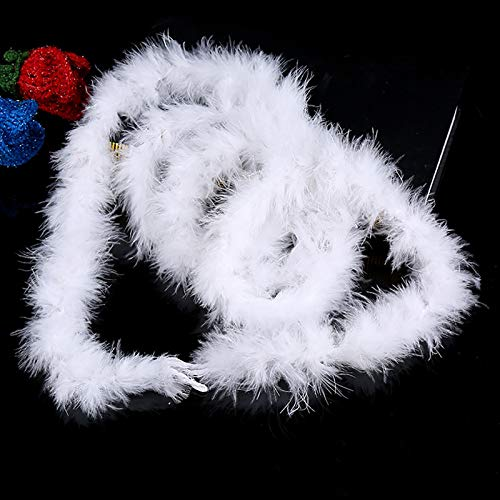 SQYX weiße federboa Girlande,federboa weiß,Weiße Federgirlande,2M weiße Feder Boa Kostüm Kostüm Party Tanz Hochzeit Weihnachten Nacht Streifen (White)