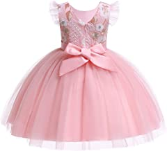 ❤️ Mealeaf ❤️ Kid Child Girl Sleeveless Floral Embroidered Princess Prom Dress Clothes(2-7 Years )