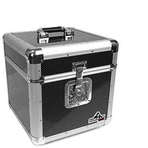 Gorilla GC-LP100, Aufbewahrungskiste für 100 Stück 12-Zoll-Schallplatten, Karbonfaser-Stil