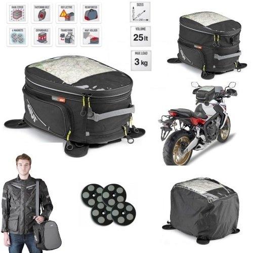 Voor Honda CG 125 Givi EA102B 25LT Reservoir voor motorfiets, universele bevestiging, met magneten en riemen, tas 170 > 270 x 370 x 280 mm