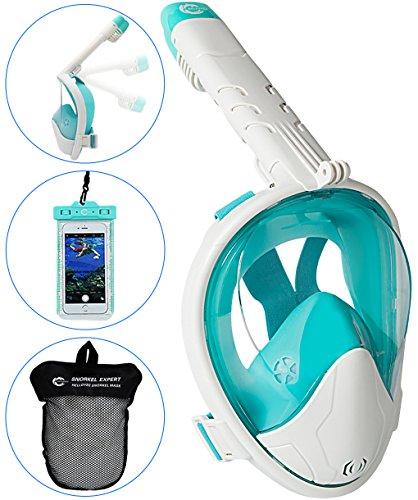 HELLOYEE Faltbar Schnorchelmaske V4.0 Kompatibel mit GoPro Kamera 180° Panorama-Sicht Geeignet Schnorchel Maske für Erwachsene und Kinder, Tauchermaske Antibeschlag und Leckdichtes Design