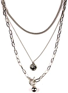 Dainty Unique Punk Layering Chain Choker Necklace Boho Jewelry Set Layered Silver Coin Pendant Statement Chunky Chain Neck...