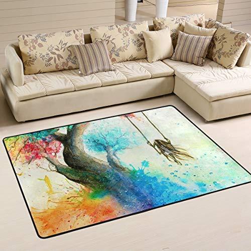 XiangHeFu Gepersonaliseerde tapijten regenboogboom schommel 3 x 2 inch (36 x 24 inch) vloermatten mat zacht voor woonkamer slaapkamer huis keuken decoratief 36x24 Inches Image 1689