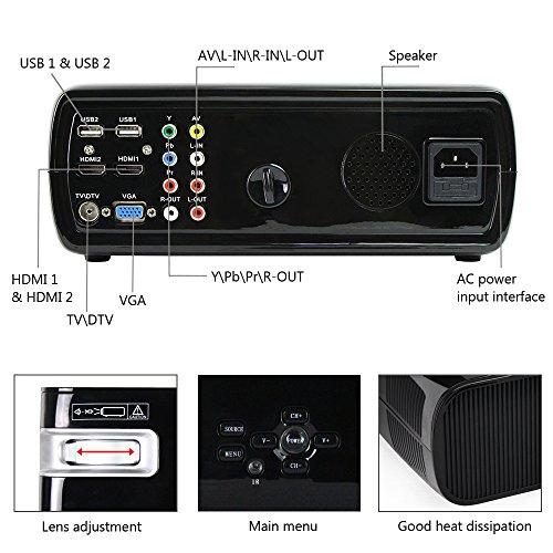 Ogima Bl20 Video Projector, 2600 Lumens Home Cinema Theater LCD TFT Display 1080P HD 3D
