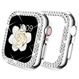 DABAOZA Compatible for Apple Watch 42mm Case Bumper, Bling Women Girl Dressy Crystal Diamonds Hard Glossy Shiny Crystal Rhinestone Protective Frame for iWatch Case 42mm Series 3/2/1 (Silver, 42mm)