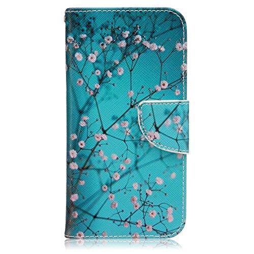 ISAKEN Compatibile con LG G5 Custodia Flip Cover in Pelle PU Protettiva Portafoglio Wallet Case Cover con Funzione Supporto/Carte Slot/Chiusura - Flower Rosa