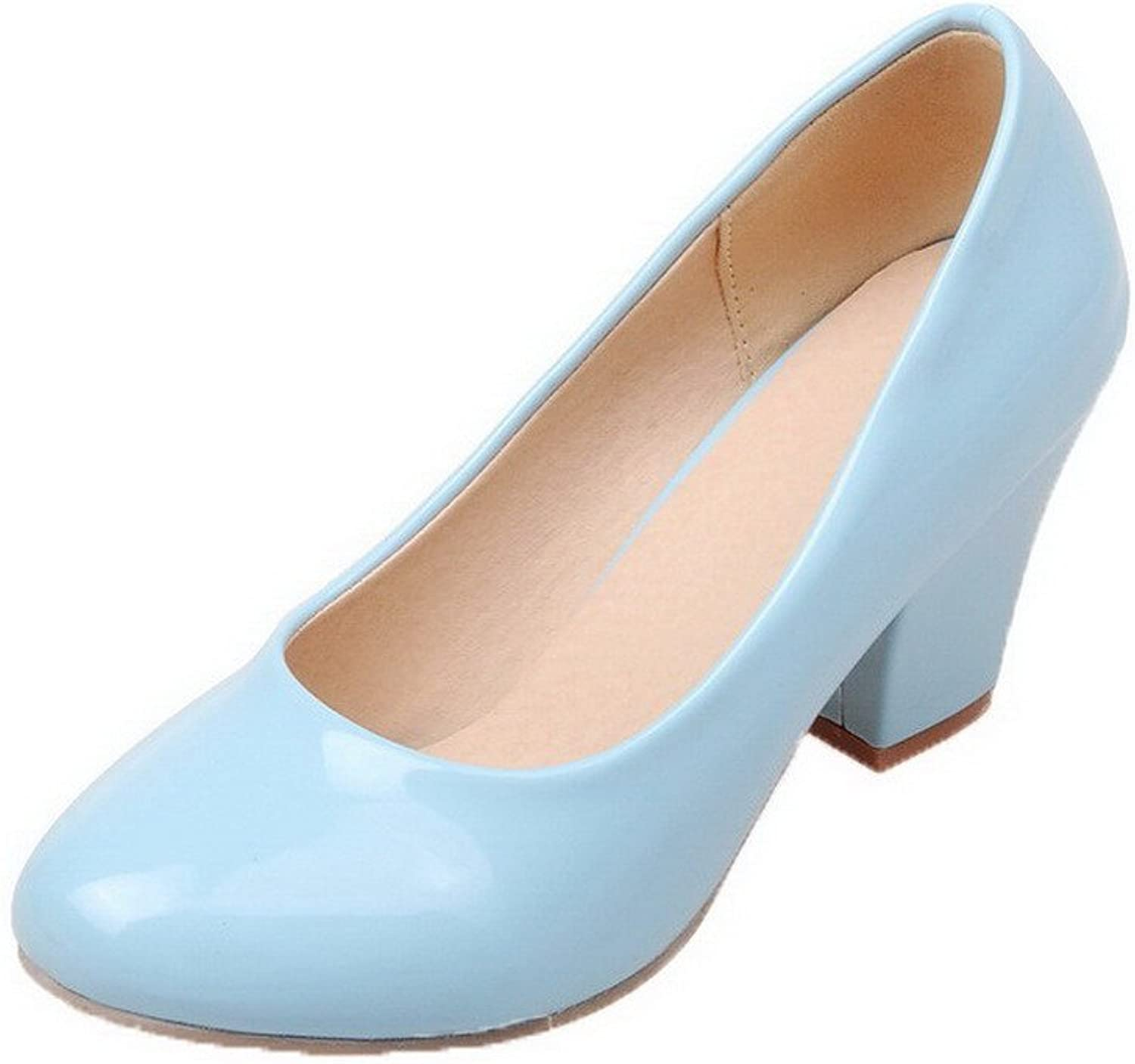 WeenFashion Women's Patent Leather Pull-On Round-Toe Kitten-Heels Pumps-shoes