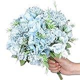 Hawesome Mini Ramo Artificial de Rosa Hortensia 3 Piezas Ramo de Flores de Nupcial de Seda decoración de hogar de Bodas Azul Rosa Violeta Blanco