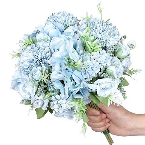 Hawesome Mini Ramo Artificial de Rosa Hortensia 3 Piezas Ramo de Flores de Nupcial de Seda decoración de hogar de Bodas…