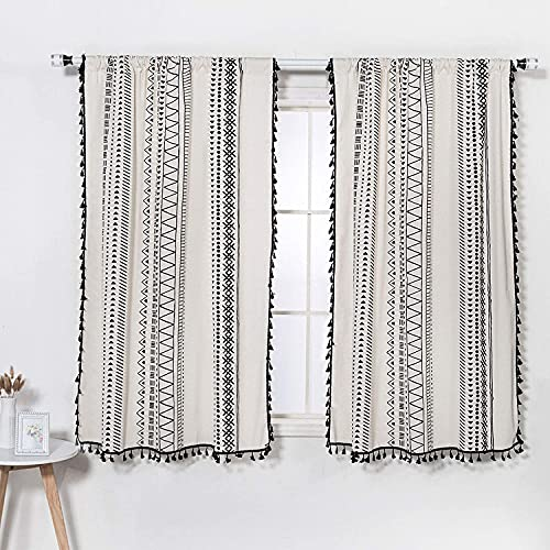 63 Inch Boho Curtains with Tassels - Light Filtering Off White Curtains for Window (2 Panels, Linen Blend Fabric )
