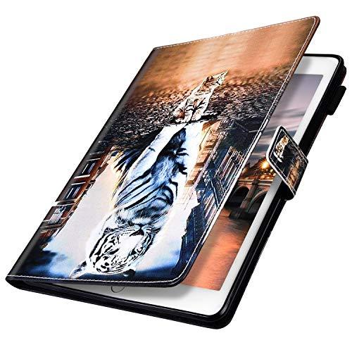 MoreChioce compatible avec Coque Samsung Galaxy Tab S5E,Coque Galaxy Tab S5E T720/T725 Housse de Protection,Jolie motif Tieger Smart Cover Stand Flip Tablette Case Portefeuille Magnétique