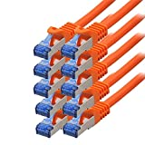 BIGtec - 10 Stück - 0,5m CAT.7 Gigabit Patchkabel Netzwerkkabel orange Kupferkabel Patch Ethernt...