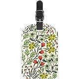 Etiquetas de Equipaje sin Costuras, diseño de Flores con Plantas de Piel para Maletas, 1 Paquete