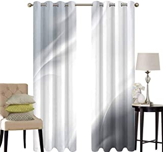 hengshu Grey Bedroom Curtains Blackout Shades Abstract Framework with Ombre Inspired Design Corners Wavy Lines Modern Darkening Drapes for Bedroom W42 x L36 Inch Gray Pale Grey White