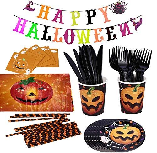 Juego de Vajilla de Halloween, HOMEK 87 piezas Vajilla de Fiesta de Halloween Artículos de Fiesta, Banner Manteles Platos Servilletas Cuchillos Tenedores para Fiesta Halloween Decoraciones