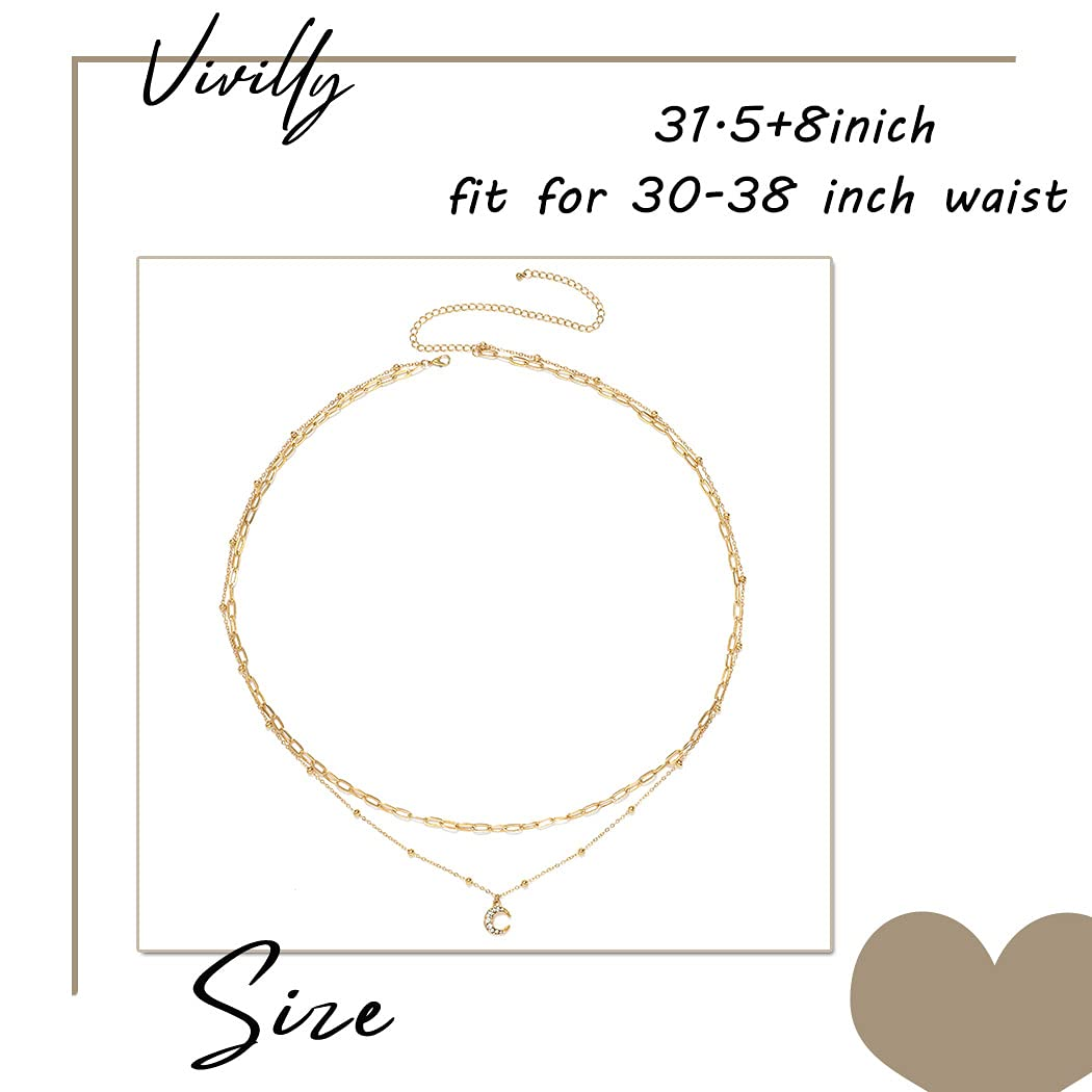 Vivilly Bead Belly Chain Gold Pearl Butterfly Waist chain Moon Rhinestone Waist Jewelry for Women and Girls (Moon)