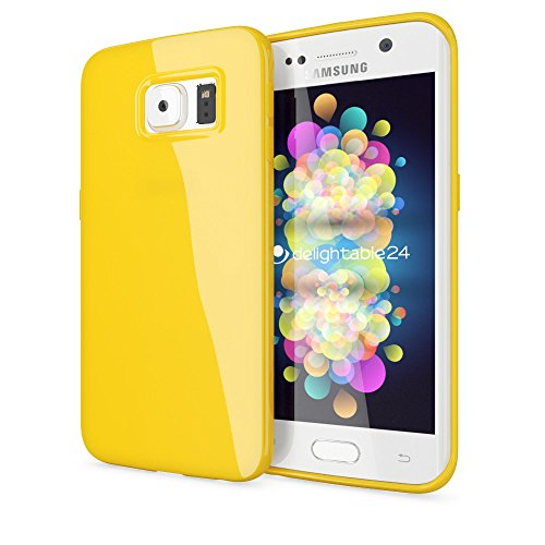 NALIA Handyhülle kompatibel mit Samsung Galaxy S6 Edge, Ultra-Slim TPU Silikon Jelly Case Hülle, Dünne Gummi Schutz-Hülle Skin, Etui Handy-Tasche Telefon-Schale Back-Cover Smart-Phone Bumper - Gelb