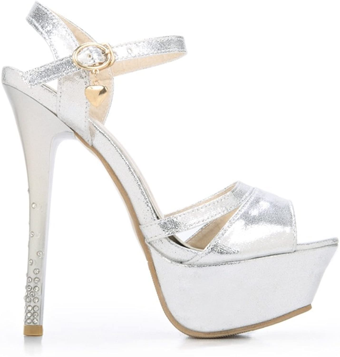 Women's Fine and Super High Heel-Stylish Fish-Mouth Sandals-Pure Rhinestone Buckle with Sandals-Comfort Heel shoes Zhhzz
