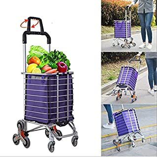 RK Safety Folding Shopping Cart Portable Grocery Utility Lightweight Stair Climbing Cart with Rolling Swivel Wheels and Removable Waterproof Canvas Removable Bag (One, Purple)