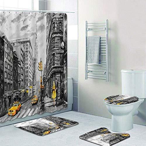 AIDEMEI Straßenansicht Von New York City Duschvorhänge Badezimmer Vorhang SetStadt Landschaft Malerei Kunstwerk Home Decor Teppiche Taxi 180X180Cm