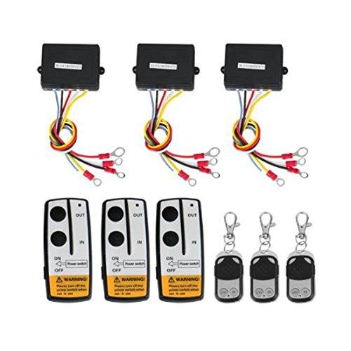 Lovelifeast Lot de 3 kits de télécommande sans fil pour treuil pour camion, Jeep, ATV, contrôleur sans fil 12 V de voiture 4 x 4