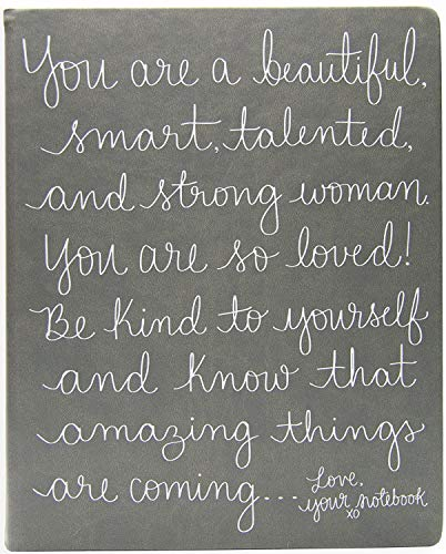 "Eccolo Dayna Lee Collection Grey ""Love, Your Notebook"" 8x10' Inspiring Hardcover Journal/Notebook, 256 Acid-Free Lined Pages"