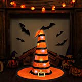 "Ivenf Halloween 23"" Witch Hat Extra Large Table Fireplace Indoor Outdoor Decoration Decor with 20 LED String Lights, Orange with Black Stripes"