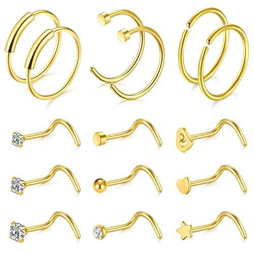 VFUN 15 Piezas 20G Acero Inoxidable Piercing Nariz Anillo Piercing Falso Piercing Labio Mujer Hombre Piercing Joyería (15 Piezas-Oro)