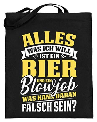 Bier und ein Blowjob was kann daran falsch sein? JGA & Party - Jutebeutel (mit langen Henkeln) -38cm-42cm-Schwarz