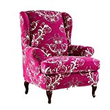 JHLD Stretch Wingback Chair Cover, Printed Soft Armchair Slipcover Floral Non Slip Washable Furniture Protector for Universal Wingback Chairs-red-2 Pieces