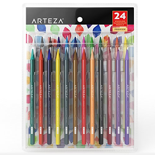 Arteza Woodless Watercolor Pencils, Set of 24, Multi Colored Art Drawing Pencils, Great for Blending and Layering, Watercolor Techniques and Adult Coloring Books