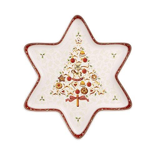 Villeroy & Boch Winter Bakery Delight Grande coupelle en forme d'étoile, Porcelaine Premium, Blanc/Rouge/Beige