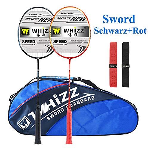 Whizz Kratzfestes Design Badminton Schläger Racket Set mit Tasche Griffband, 100% Graphit (Sword Schwarz+Rot)