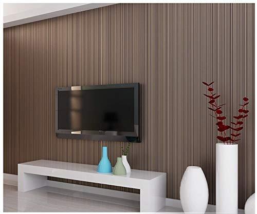 Tapete Feine Streifen Braun Moderne Minimalistische Vlies Papierrolle für Schlafzimmer Wohnzimmer Kinderzimmer Sofa TV Hintergrund Wand Wohnkultur /20.8 In 32.8 Ft=57 Sq.ft (10,05 m x 0,53 m)