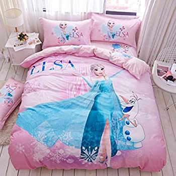 Casa 100% Cotton Kids Bedding Set Girls Frozen Elsa Princesses Pink Duvet Cover and Pillow Cases and Fitted Sheet,4 Pieces,Queen